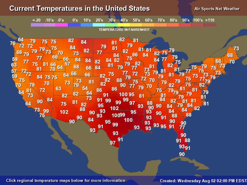 Current Temperatures / USAirNet.com…